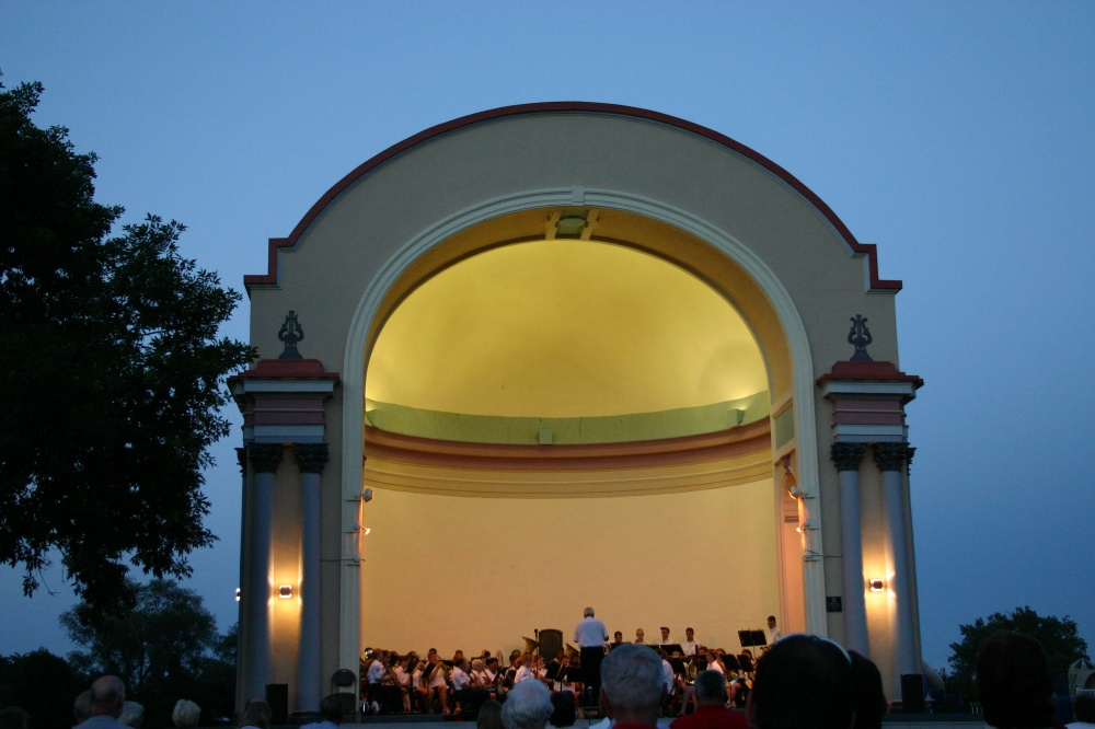Concert Within the Historic Bandshell at Dusk